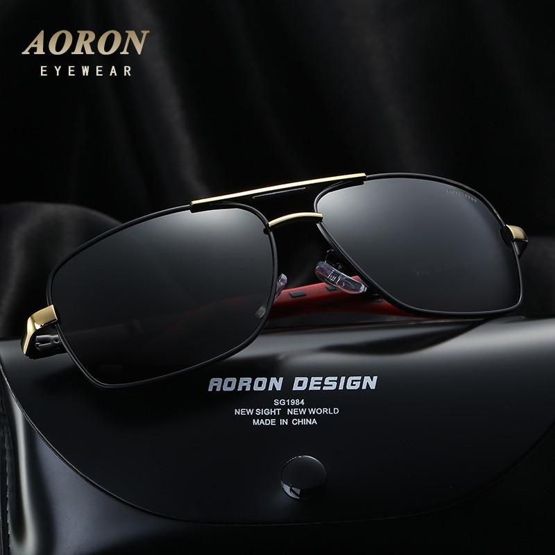 AORON fashion High Quality Brand Designer metal frame polarized sunglasses men's classic sun glasses UV400 leisure eyewear 8724 Sunglasses Aoronbrand- upcube