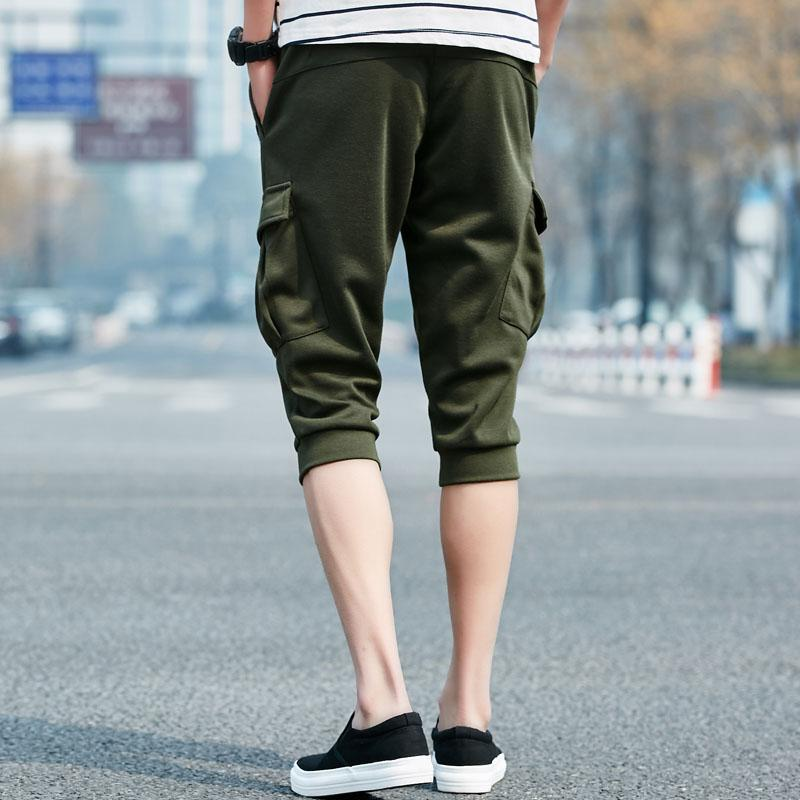 Anbican Summer Fashion Streetwear Shorts Men 2017 Brand Design Multi-Pockets Mens Long Sweat Shorts Drawstring Harem Shorts Shorts Anbican Official Store- upcube