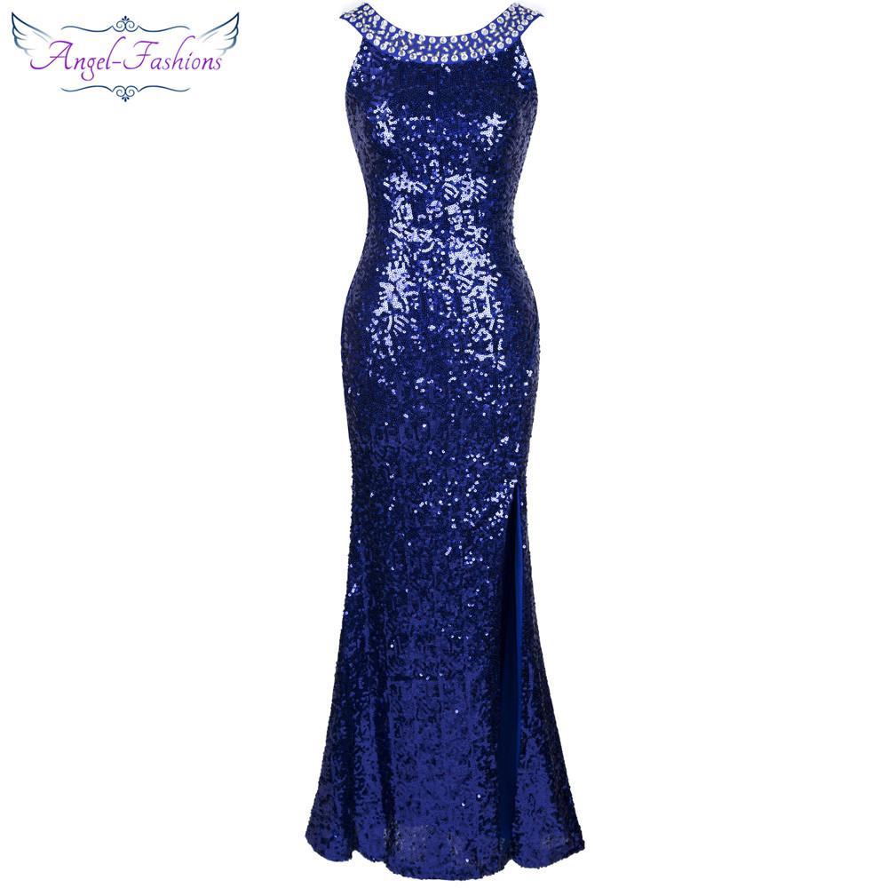 Angel-fashions 1920S Sequined Gatsby Party Gown Backless Split Long ...