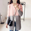 Autumn Winter Casual Patchwork Contrast Color Loose Knitwear Outwear Coat Trench Women Long Cardigan Knitted Sweater Tops Trench dguagua118- upcube
