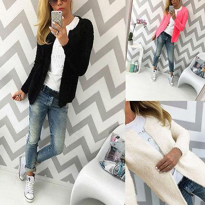 Autumn Winter Ladies Warm Coat Womens Slim Open Stitch Jacket Coats CEO- upcube
