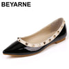 BEYARNE New Fashion Casual Women Pointed Toe Rivet Flat Bottom Shoes Women Slip On Valentine Flats Candy Color Zapatos Mujer Womens Shoes BEYARNE Footwear Store- upcube