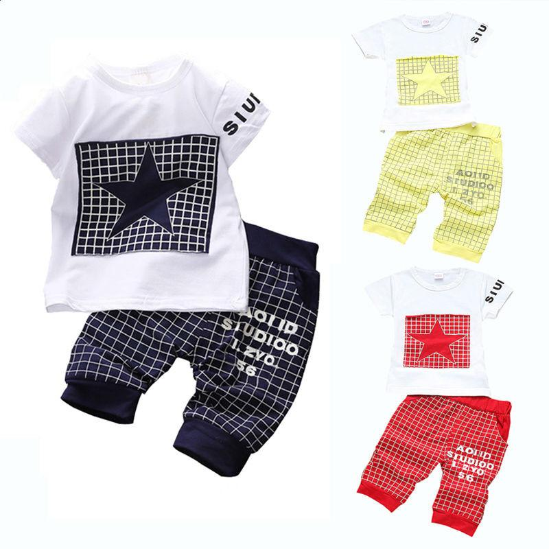 bf2021d393a Baby boy clothes 2017 Brand summer kids clothes sets t-shirt+pants suit  clothing
