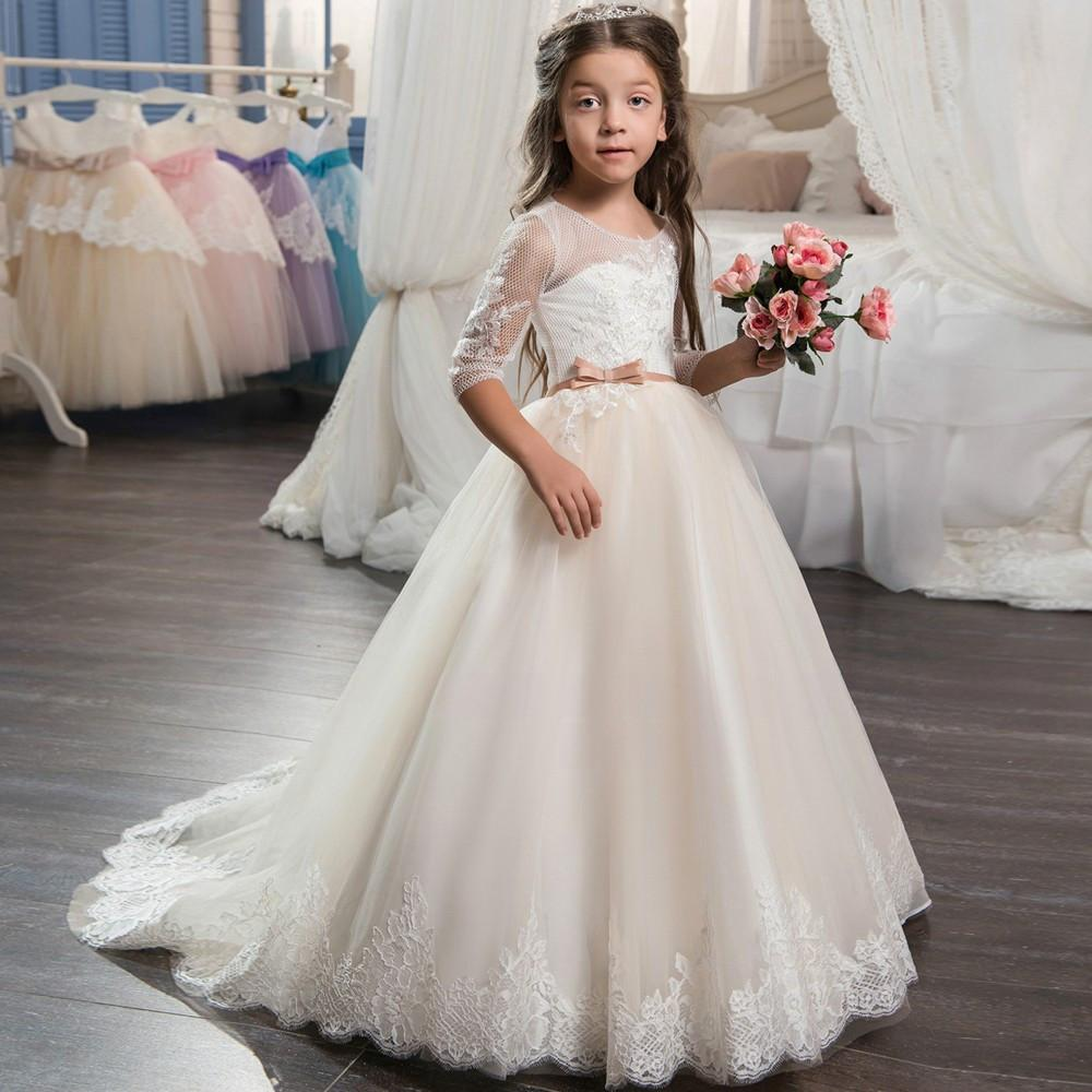 Beautiful Champagne Lace Flower Girl Dress 2017 with Sleeves Lace ...