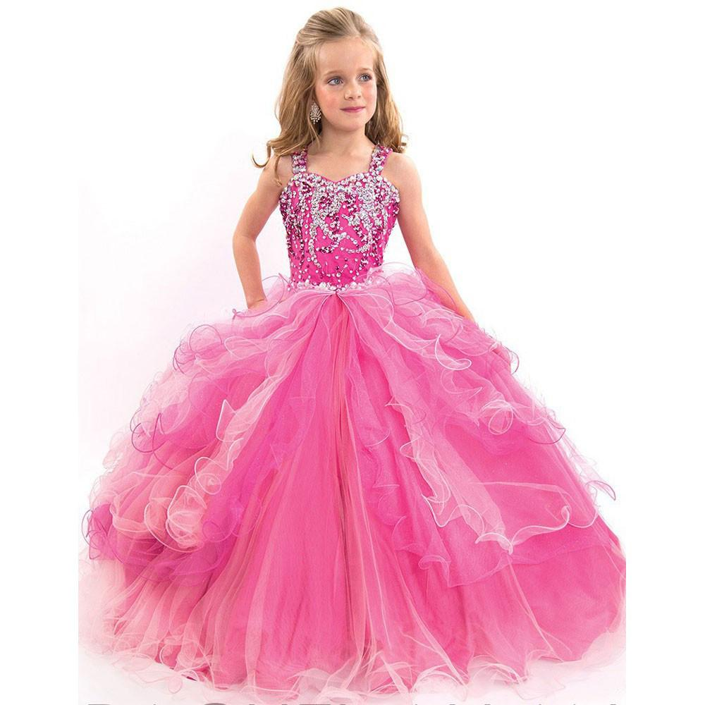 Beauty pageant ball gowns for girls Ball Gown Flower Girl Dresses Cheap  Plus Size Girls Wedding Party Dress primera comunion