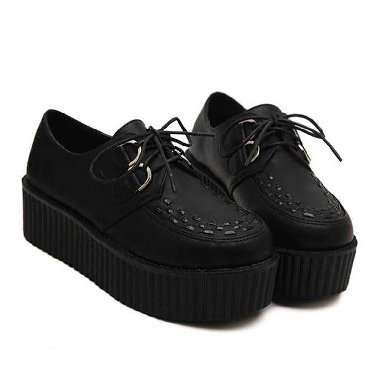 Big Size 40 Spring Autumn Flat Shoes Vintage Women Creepers Platform Shoes Woman Flatform Black Suede Creepers For Women Women's Pumps BeautyQueen- upcube