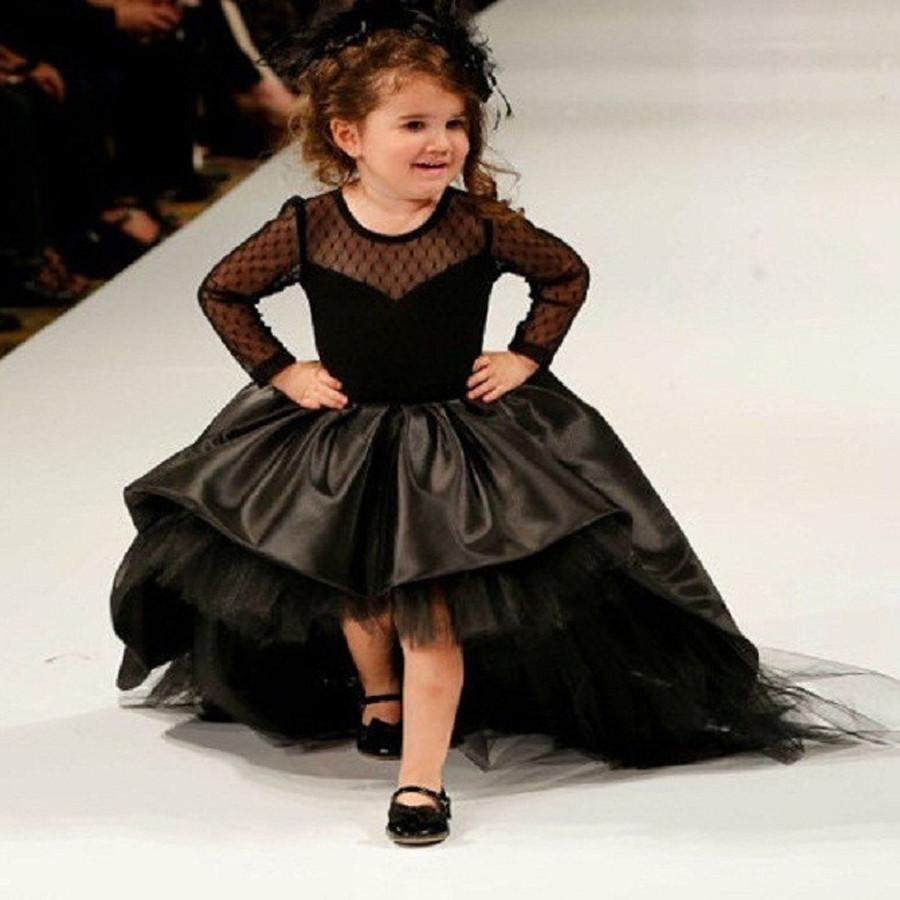 Black High Low Pageant Dresses For Little Girls Ball Gown Flower