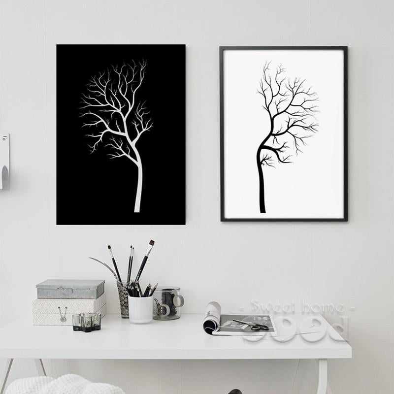 Black White Tree Canvas Painting Poster, Wall Pictures For Living Room    Jetcube