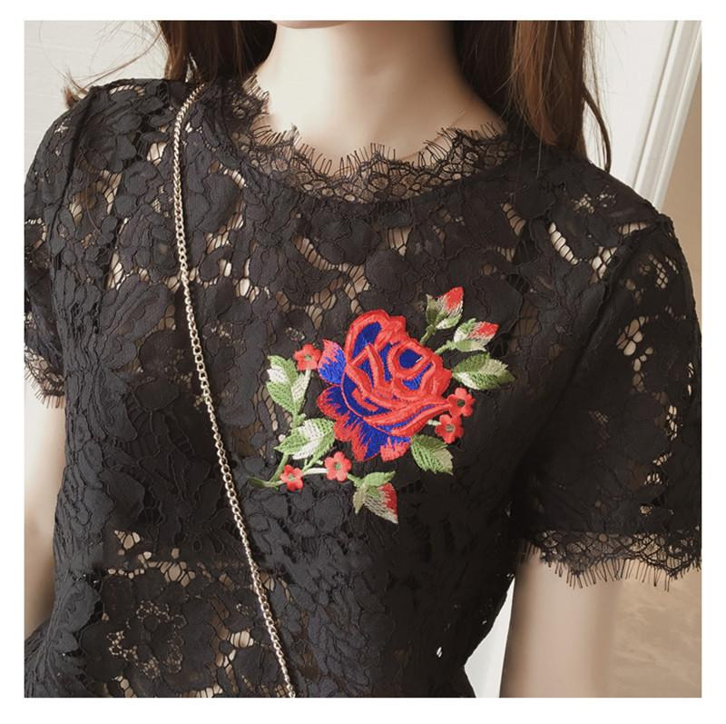 Blusa Lace Blouses Summer Embroidery Rose Shirts Women Tops Tees Short Sleeve White Black Ladies Shirts Casual Blouse 32718 Blouses & Shirts AAZZ- upcube