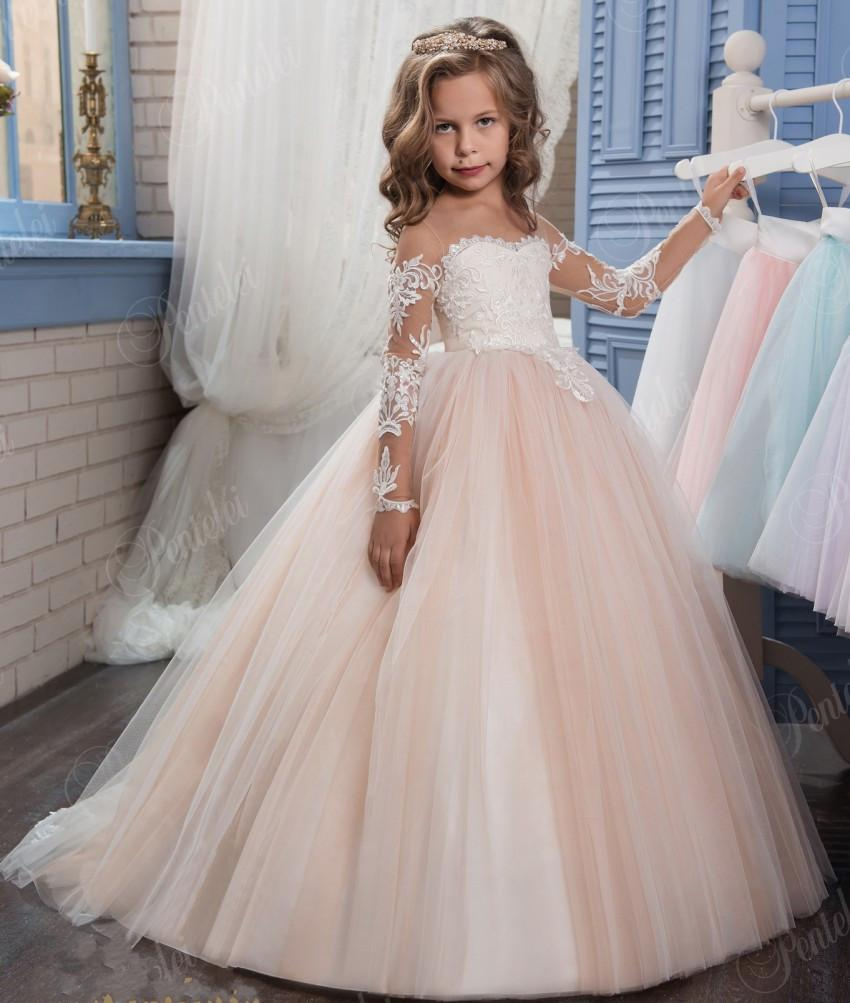Blush Ball Gown Flower Girl Dresses for Weddings Cheap Lace ...