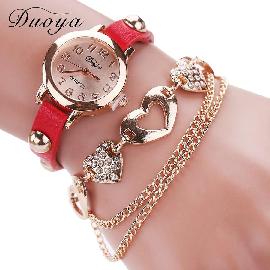 Brand New Duoya Watches Women Brand Gold Heart Luxury Leather Wristwatches Women Dress Bracelet Chain Bracelet Watch July15 Women's Watches D6li-Happy- upcube