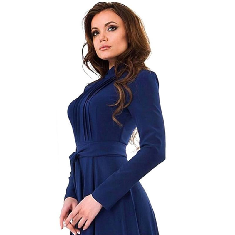 Brief Women Long Sleeve Cotton Blend Blue Dress Evening Party Full Length Maxi Gown
