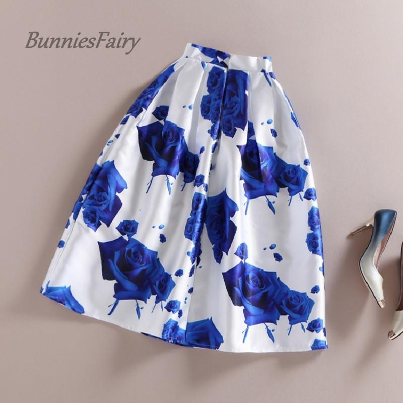 BunniesFairy 50s Vintage Skirts Womens Romantic Fantasy Blue Rose Flower Print High Waist Midi Skirt Pleated Tutu Saia Feminina