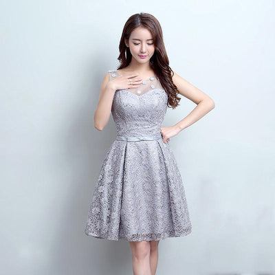 Ceewhy Gray O Neck Appliques Knee Length Lace Short Prom Dress