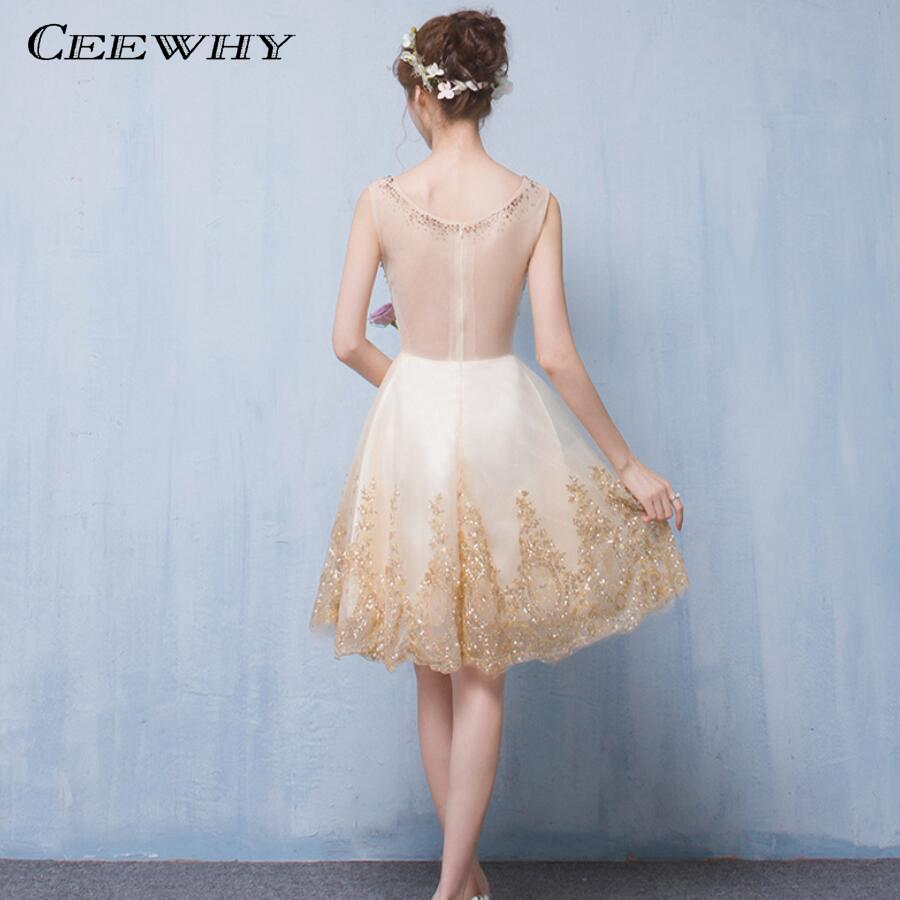 CEEWHY O-Neck Beaded Short Prom Dress Formal Gowns Short Evening ...