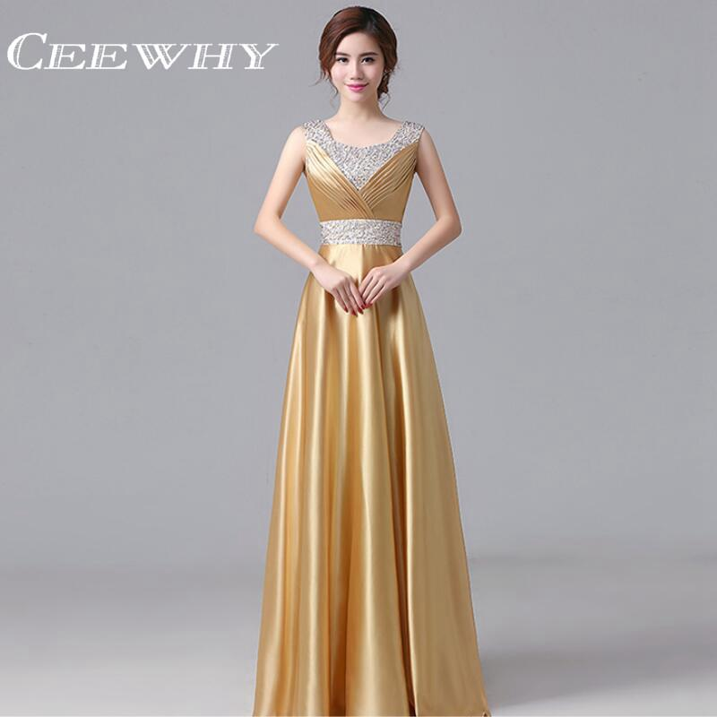 CEEWHY Satin Gold Evening Dress Long 2017 Prom Dresses Robe De Soiree Floor-length Party Elegant Evening Gowns Crystal Plus Size Prom Dresses Formal Gown Store- upcube