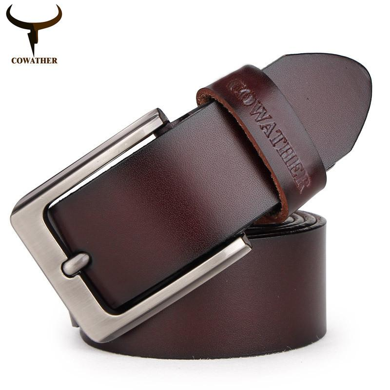 COWATHER 100% cowhide genuine leather belts for men brand Strap male pin buckle fancy vintage jeans cintos XF001 freeshipping