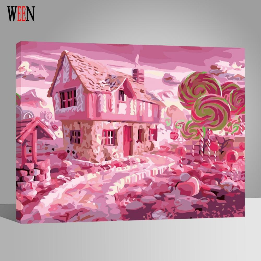 Candy House Sweet Wonderland Painting By Numbers On Canvas DIY ...