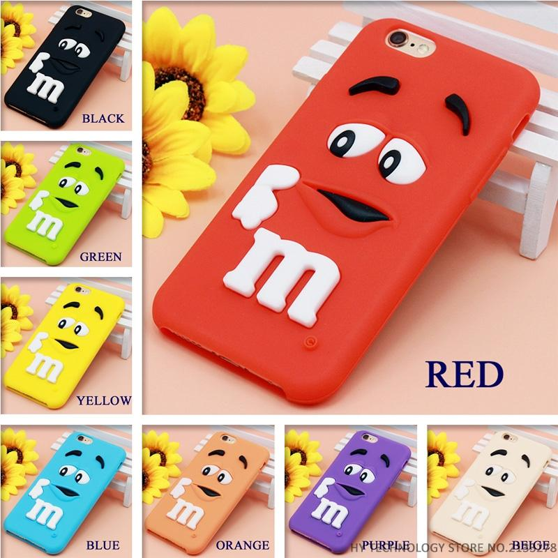 Cartoon M&M Chocolate Candy Rubber Phone Cases For iPhone 6 6S 7 Plus Best Quality Soft Silicone Back Cover For 4 4S 5C SE 5 5S Wallet Cases RockWolf Factory Store- upcube