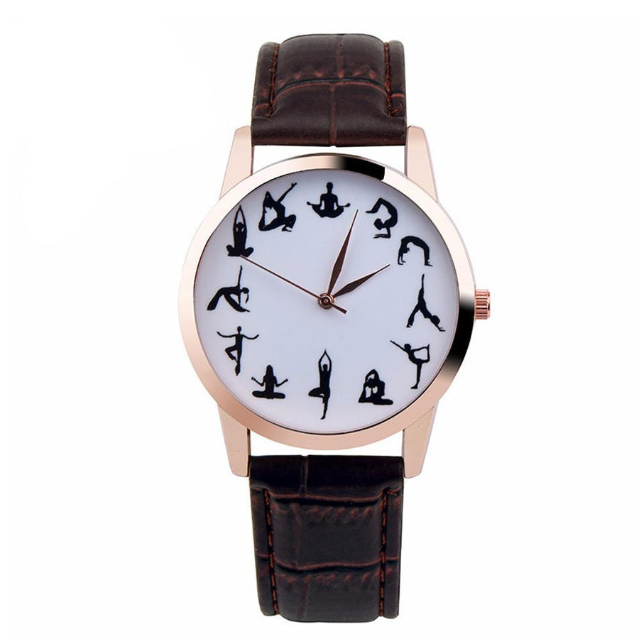 Casual Watch YOGA Pattern Printed Watch Analog Round Case Dial Leather Pin Buckle Quartz Wrist Watch For Women Men J73 Women's Watches D6li-Happy- upcube