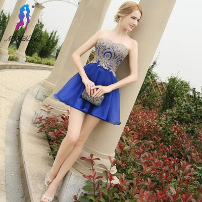 Cheap Royal Blue Short Cocktail Dresses Evening Gown Sleeves