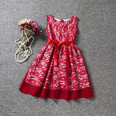 Cool Summer Solid Bow Toddler Girl Lace Dress With Blet For 4 to 10 Years  Old e8dd30e0a397