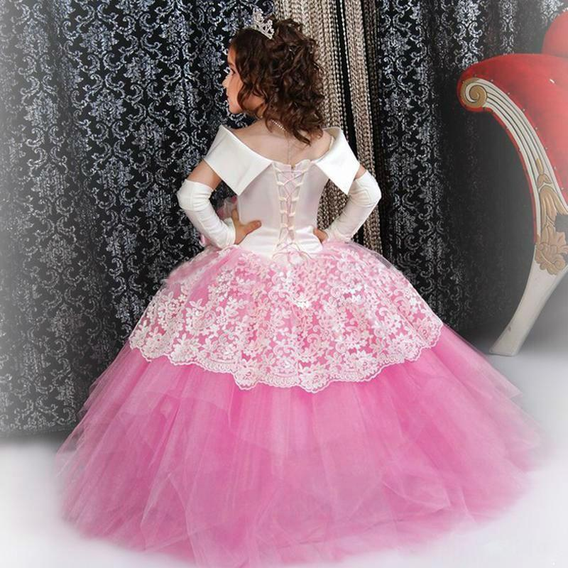 Custom Made White Satin Pink Puffy Toddler Ball Gown Girls Frock ...