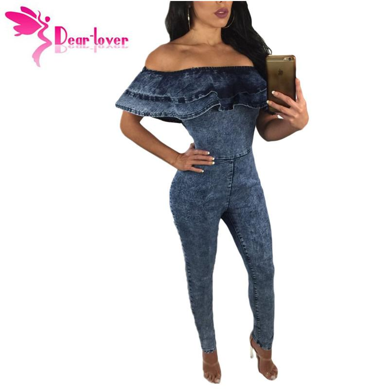 Dear Lover Jumpsuits Rompers Fashion Sexy Club Long Jeans Blue