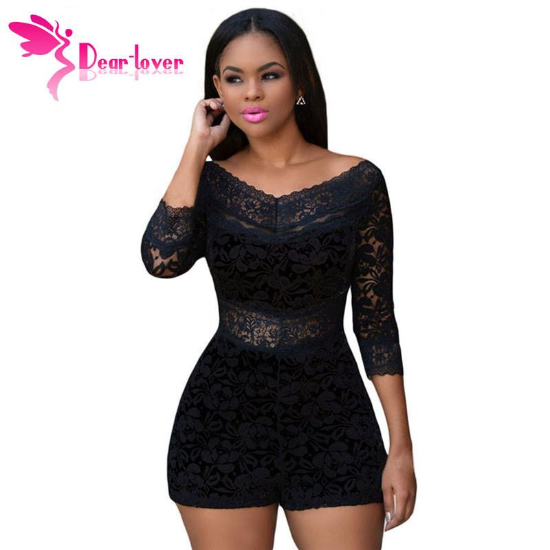 Dear-Lover Playsuits Shorts XL Black Lace Overlay Off-shoulder Romper Womens Jumpsuit Bodysuits Monos Overalls Bodycon LC60411 Rompers dearlover Official Store- upcube