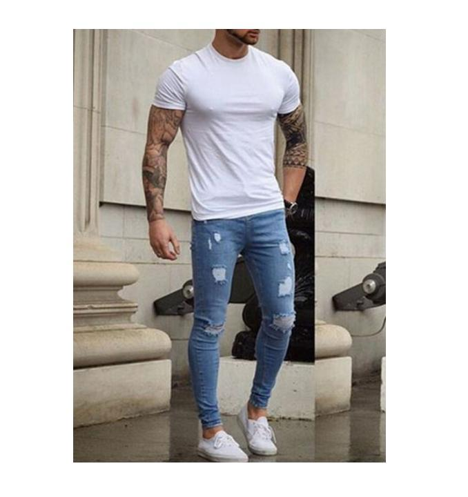 Destroyed Taped Slim Jeans Men Bottoms Men's Stretchy Ripped Skinny Biker Fit Denim Pants Long Trousers