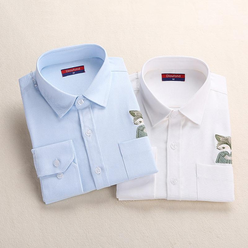 938b4e219c773d Dioufond Print Cat Embroidery on Pocket Shirts Lady 2017 Spring New Fashion  White Navy Casual Blouse