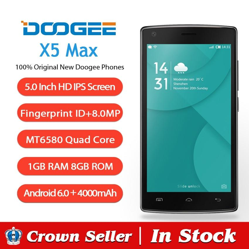 Doogee X5 MAX Mobile Phone 5 Inch HD IPS MT6580 Quad Core Andriod 6 0 1GB  RAM 8GB ROM 8MP Cam 3G Fingerprint ID 4000mAh Battery