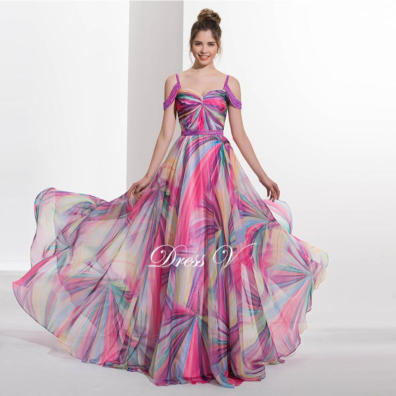 Dressv 2017 Spaghetti Straps A-line printed long prom dress beading zipper up off the shoulder formal evening dress prom dress