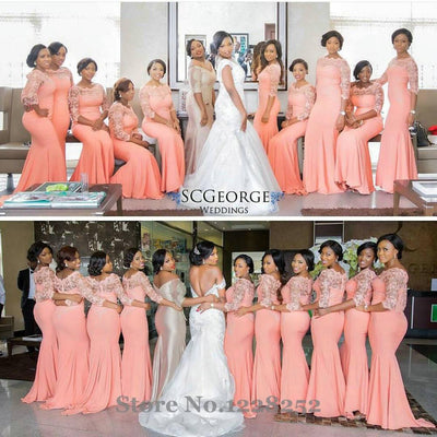 Elegant Coral Long Bridesmaid Dress With Sleeves Plus Size Lace