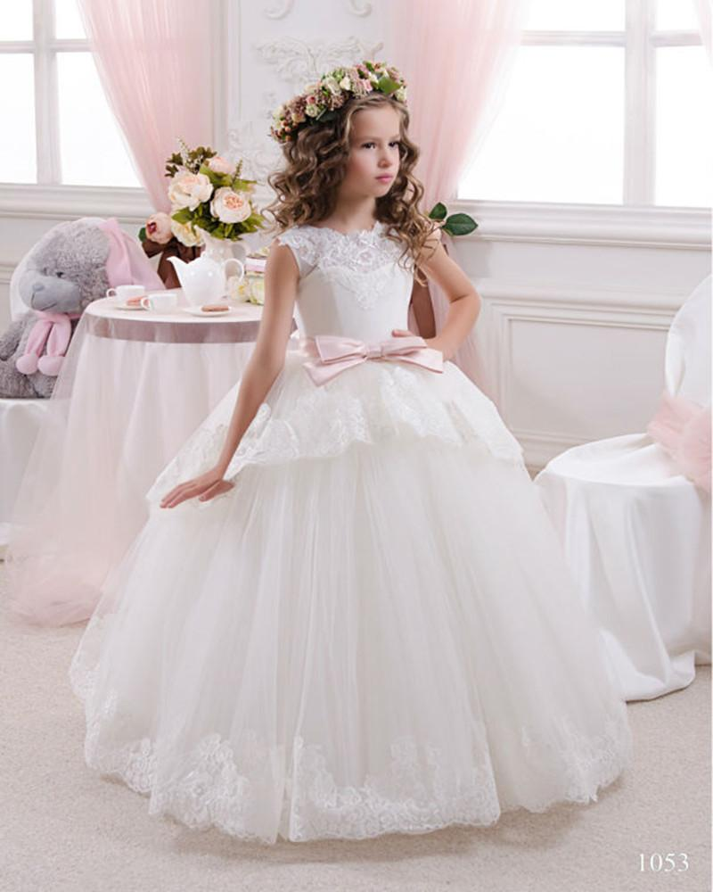 Elegant First Communion Dresses For Girls Ball Gown White Lace Bow ...