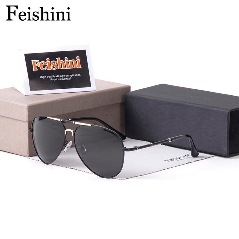 FEISHINI P275 Brand Designer UV Protection Polaroid Lens FDA Elegant HD Driving Man Sunglasses Men Polarized Pilott Vintage 2017