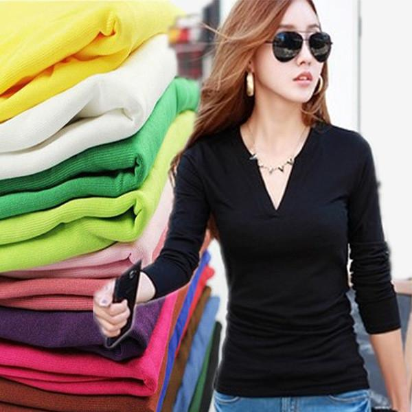 Fashion 2016 Women Sexy Cropped Knitted Shirts Long Sleeve V-neck Shirts Stretch Casual fit Brand Tops