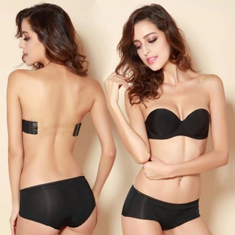 Fashion Black Invisible Blade Strapless Tape Bras Sexy push up 3 breasted Bras without Underwears