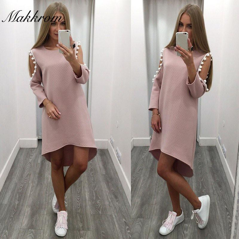Fashion Summer Dress 2017 Novelty Pink Three Quarter Sleeve Off the Shoulder Sexy Hollow Out O-Neck Knee-Length Women Dresses