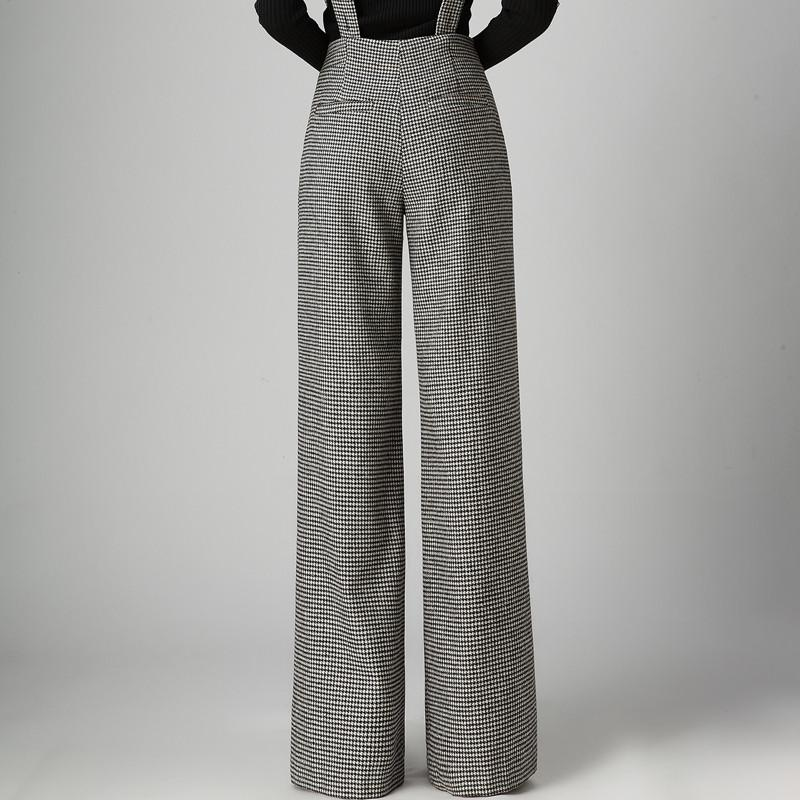 Fashion Winter Thick Warm Wool Suspenders Pants Womens Wide Leg Palazzo Pants Woman High Waist Houndstooth Bib Overalls Trousers
