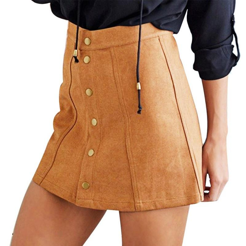 Fashion Women Sexy Skirt Suede Faux-Line Vintage High Waist Short Button Bodycon Mini Skirts