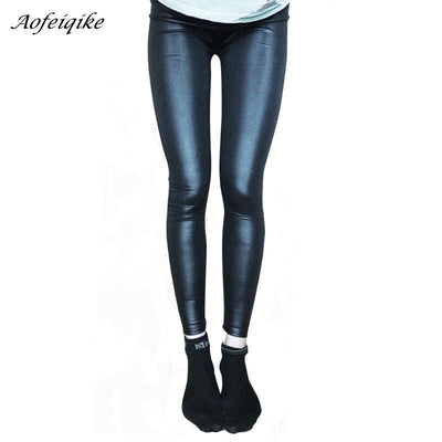 606c87c004ece Faux Leather Leggings Navy Blue Sexy Women Leggins Thin Black Leggings  Calzas Mujer Leggins Plus Size