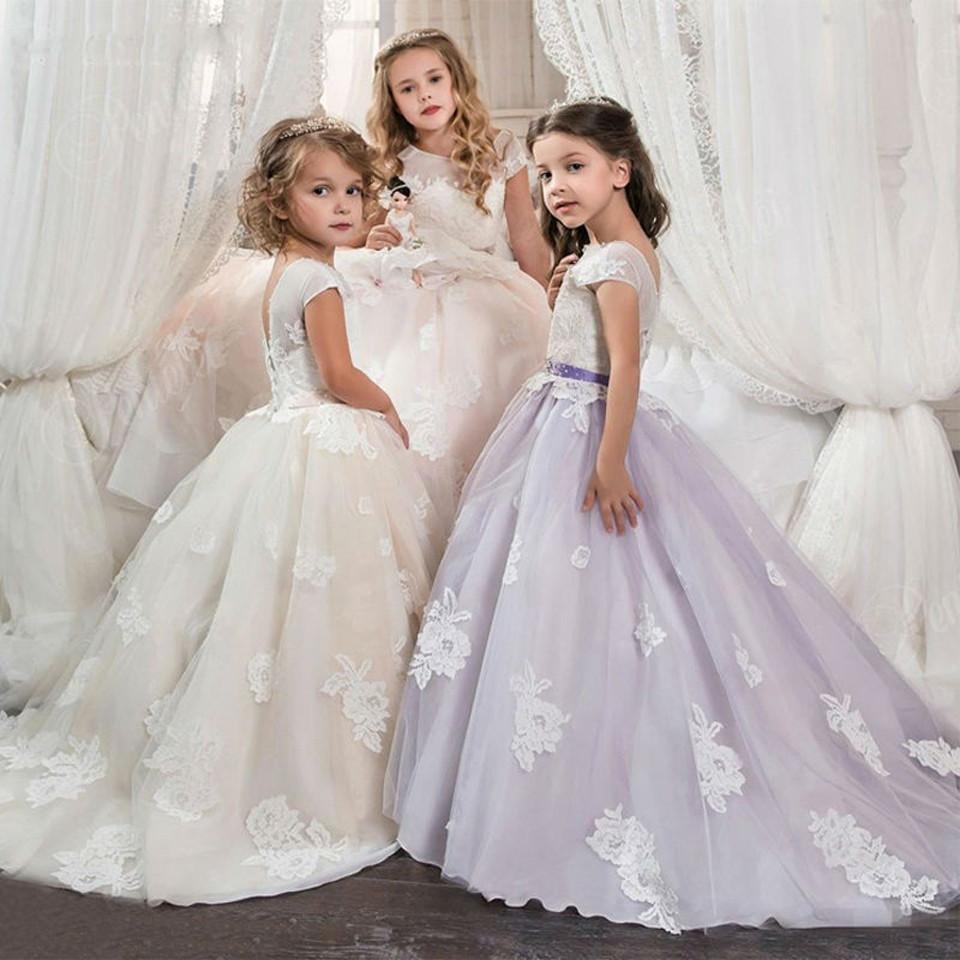 First Communion Dresses For Girls Ivory/Purple/Pink Ball Gown Lace ...