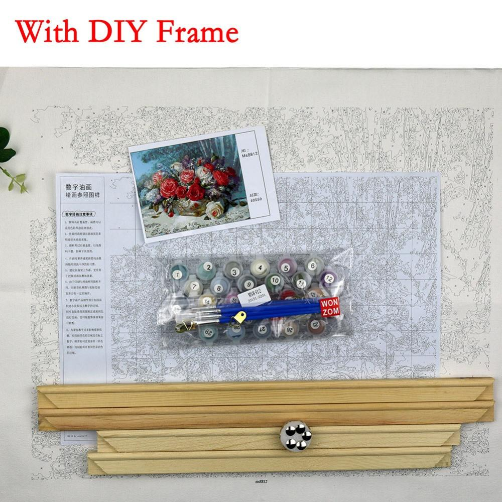 Flower Wall Canvas Pictures Coloring by Numbers DIY HandPainted ...