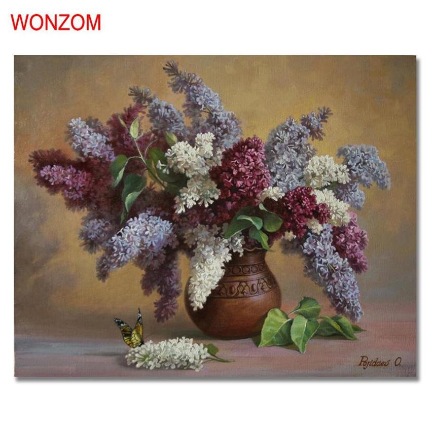 flowers vase painting by numbers on canvas diy handpainted unframed pi jetcube - Vase Painting
