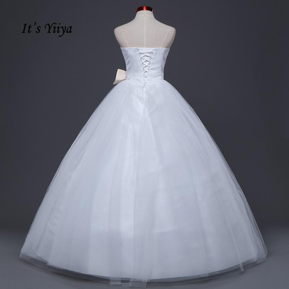 Free Shipping Strapless Cheap Bow Waist Champagne Wedding Dresses ...