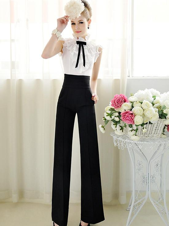 Free Shipping Women Work Black Slim High Waist Flare Vintage Career OL Loose Wide Leg Long Pants Palazzo Trousers
