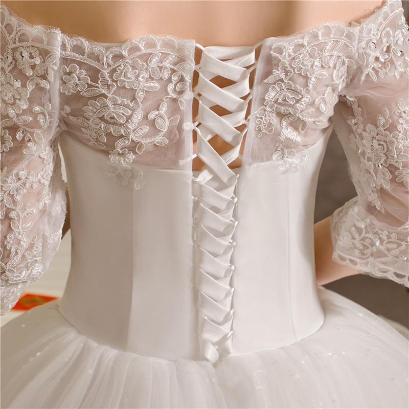 Free Shipping New 2017 Summer Boat Neck Lace Bling Sleeve Wedding Dresses Plus Size Princess Bride
