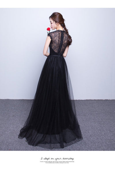 Free Shipping Long Lace Evening Dresses Black Mermaid Dresses Semi