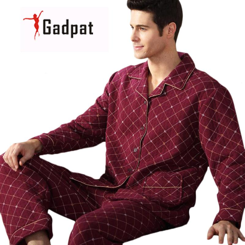 Gadpat Men s Pajamas Autumn Long Sleeve Sleepwear Cotton Plaid Cardigan Pyjamas  Men Lounge Pajama Sets Plus fe5a48d88